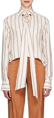 Chloé Women's Striped Silk Tieneck Blouse