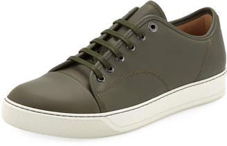 Lanvin Men's Cap-Toe Napa Leather Low-Top Sneakers