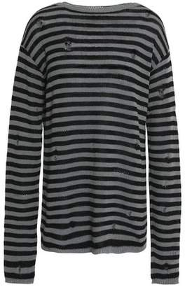 Marc Jacobs (マーク ジェイコブス) - Marc Jacobs Distressed Striped Wool And Cashmere-Blend Sweater