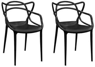 Mod Made Modern Plastic Loop Dining Side Chair- Set of 2 (Black)