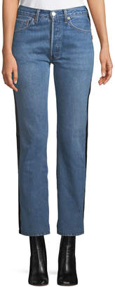 Vetements Straight-Leg Denim & Leather Jeans