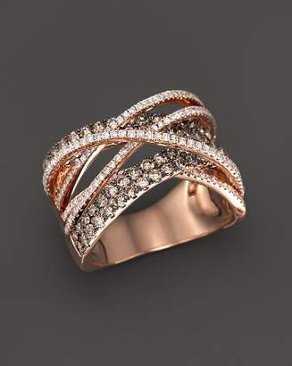 Bloomingdale's Brown and White Diamond Crossover Ring in 14K Rose Gold - 100% Exclusive