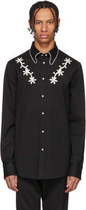 DSQUARED2 Black Wool Chic Western Shirt