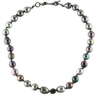 Armenta Old World Midnight Pearl & Diamond Necklace