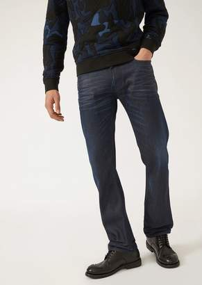 Emporio Armani J45 Slim-Fit Waxed And Washed Denim Jeans
