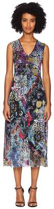 Fuzzi V-Neck Flower Patch Dress Women's Dress