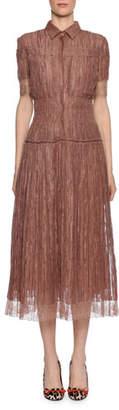 Bottega Veneta Short-Sleeve Midi Shirtdress with Lace Trim