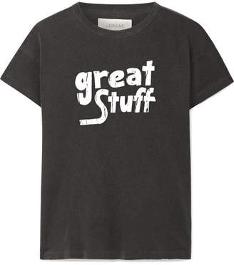 The Great The Boxy Distressed Printed Cotton-jersey T-shirt - Charcoal