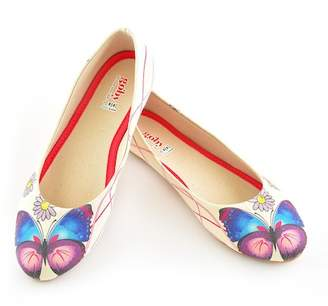 Goby Butterfly & Daisy Print Matted Canvas Ballet Flat