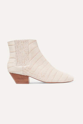 Nanushka - Salsa Croc-effect Vegan Leather Ankle Boots - Cream