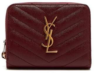 Saint Laurent Monogram Chevron Quilted Leather Wallet - Womens - Burgundy