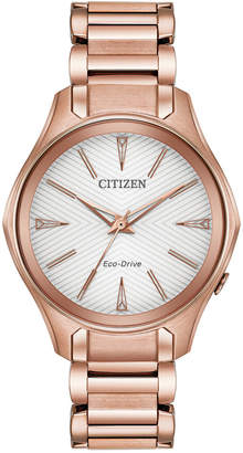 Citizen Eco-Drive Women's Silhouette Pink Gold-Tone Stainless Steel Bracelet Watch 35mm