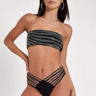 48f5066aa1 River Island Womens Black bandeau sequin embellished bikini top