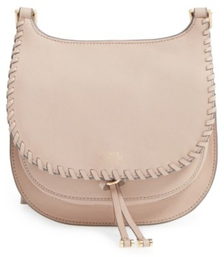 Vince Camuto Small Lidia Leather Crossbody Bag - Beige $198 thestylecure.com