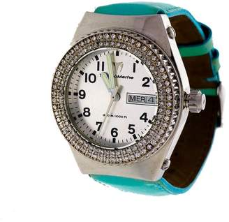Technomarine Day Date Stainless Steel Diamond Quartz Turquoise Band Strap 35mm Womens Watch