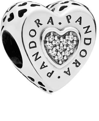 Pandora Silver Cz Signature Hearts Logo Charm