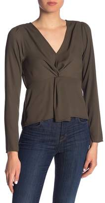 Ro & De Twist Front Long Sleeve Blouse