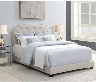 Home Meridian Tufted Nailhead Trimmed Queen Bed in Warm Grey