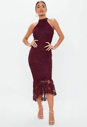 Missguided Burgundy High Neck Lace Midi Dress