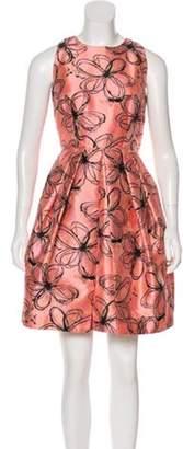 Carmen Marc Valvo Printed Sleeveless Mini Dress Pink Printed Sleeveless Mini Dress