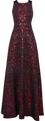 Badgley Mischka Metallic Velvet-Trimmed Cutout Jacquard Faille Gown