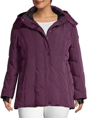 Calvin Klein Plus Faux Fur-Lined Hooded Jacket