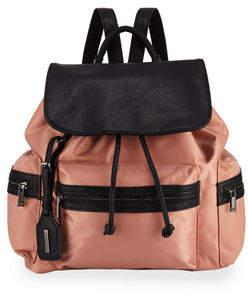 Neiman Marcus Elizabeth Contrast-Trim Nylon Backpack