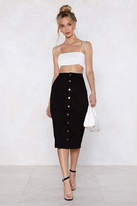 Nasty Gal Button-Up to Date Denim Skirt