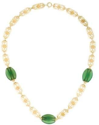 14K Art Nouveau Chrysoprase Necklace