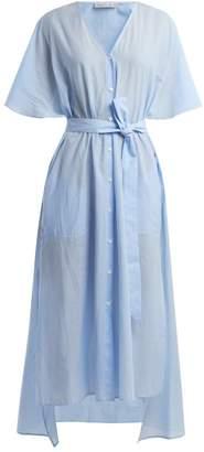 Palmer Harding Palmer//Harding Palmer//harding - Striped Tie Waist Cotton Dress - Womens - Blue Stripe
