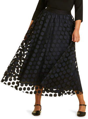 Marina Rinaldi Chance Embroidered Polka-Dot Full Tulle Skirt, Plus Size