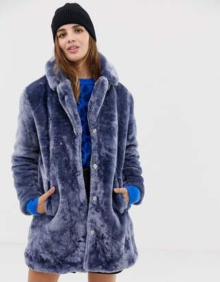 QED London teddy faux fur coat