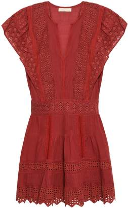 Vanessa Bruno Crochet-trimmed Broderie Anglaise Cotton, Ramie And Linen-blend Mini Dress
