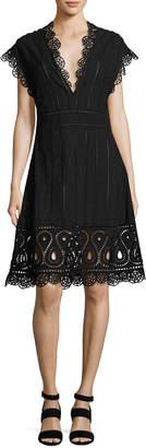 Opening Ceremony Anglaise Short-Sleeve Eyelet Dress, Black