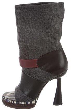 Balenciaga Balenciaga Leather Peep-Toe Boots