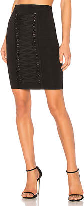 Endless Rose Knitted Pencil Lace Up Front Skirt
