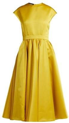 Rochas Duchess Satin Midi Dress - Womens - Yellow