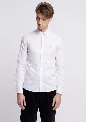 Emporio Armani Slim Fit Shirt With Logo Lettering Print To The Collar