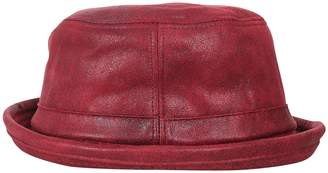 49e8bfef089e6 ililily Vintage Faux Leather Rolled Short Brim Fedora Flat Pork Pie Hat
