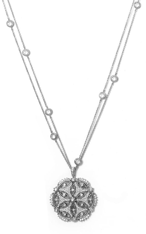 Nadri Long Double Chain Pendant Necklace