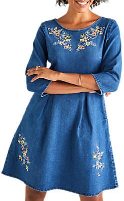 Yumi Denim Skater Dress, Blue