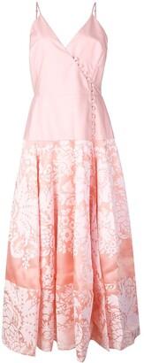 Rosie Assoulin damask wrap front midi dress