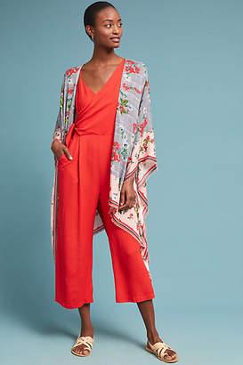 Anthropologie Floral Plaid Kimono