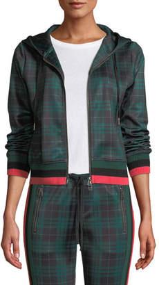 Pam & Gela Stewart Hooded Plaid Cropped Track Hoodie Sweater