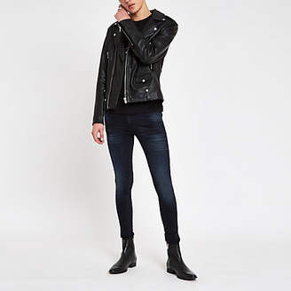 River Island Dark blue Ollie spray on super skinny jeans