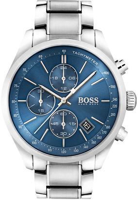 Black Grand Prix Blue Chronograph Dial Stainless Steel Bracelet Mens Watch
