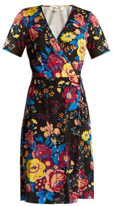 Diane von Furstenberg Bournier Floral Print Silk Wrap Dress - Womens - Black Print