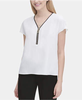 Calvin Klein Zippered Cap-Sleeve Top