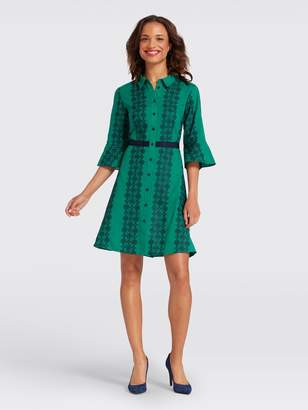 Draper James Floral Honeycomb Embroidered Shirtdress