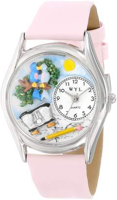 Whimsical Watches Women's S0150012 Bird Watching Pink Leather Watch
